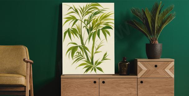 Cuadro acuarelado con hojas