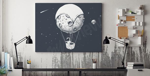 Cuadro astronauta y luna