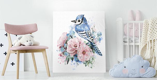 Cuadro ave y rosas