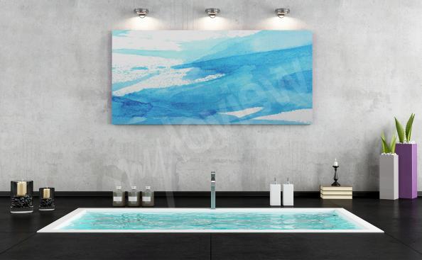Cuadro azul para baño