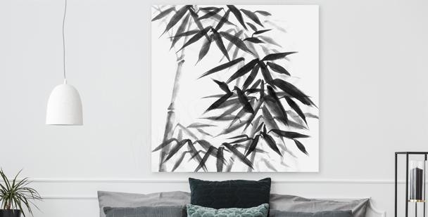 Cuadro bambú en blanco y negro