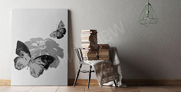 Cuadro blanco y negro mariposas