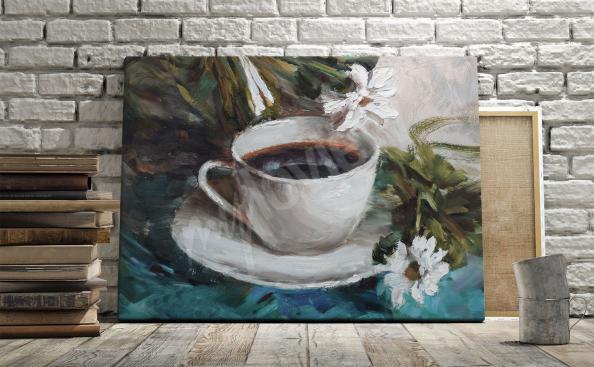 Cuadro café y flores