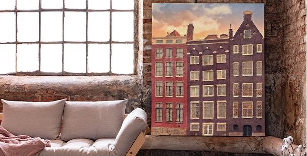 Cuadro ciudad con Amsterdam