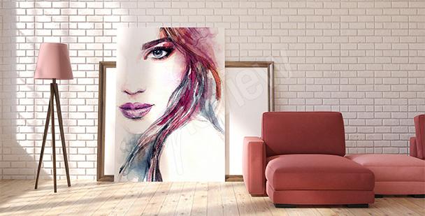Cuadro colorido con una mujer