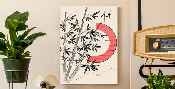 Cuadro con árboles de bambú