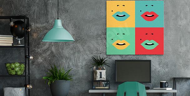 Cuadro con bocas en cuatro colores