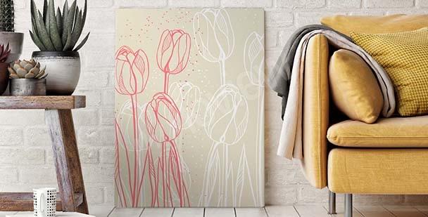 Cuadro con dibujo de flores