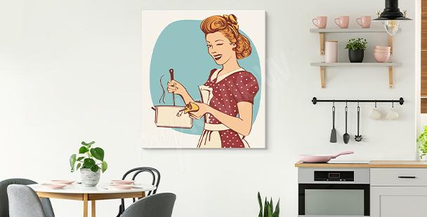 Cuadro con mujer para cocina