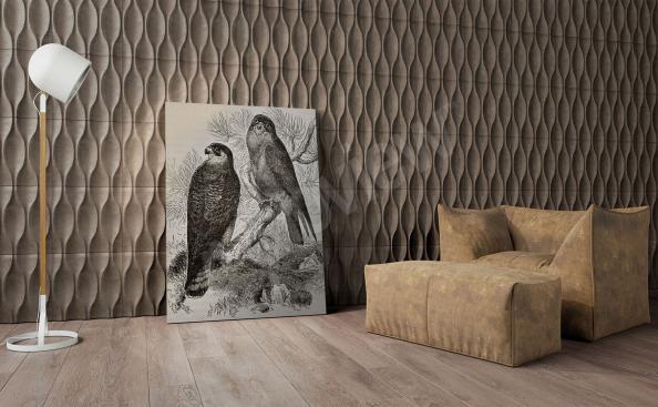 Cuadro con pájaros en blanco y negro