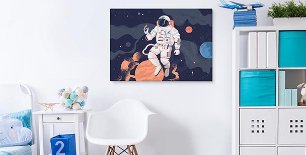 Cuadro cosmos y astronauta