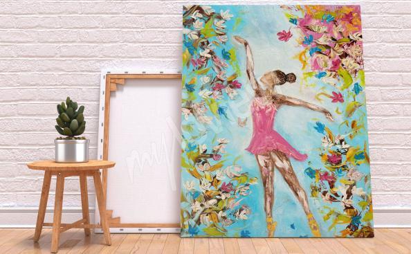 Cuadro de danza y flores