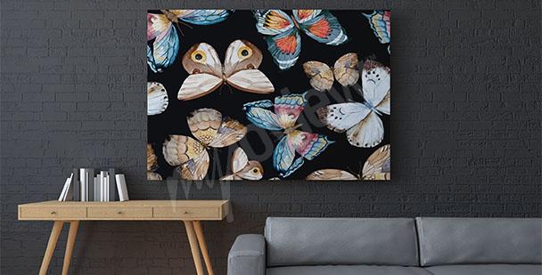 Cuadro de mariposas sobre un fondo