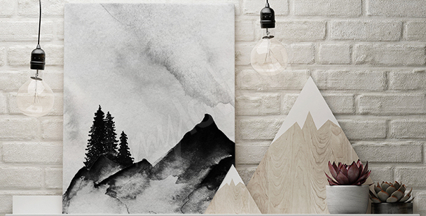 Cuadro de montaña minimalista