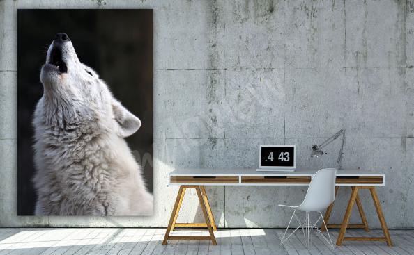 Cuadro de un lobo blanco