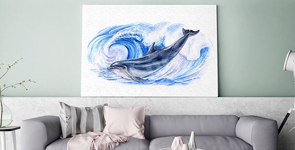 Cuadro delfín en las olas del mar