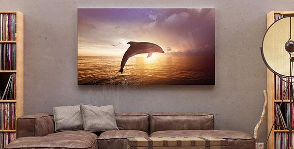 Cuadro delfín y puesta de sol