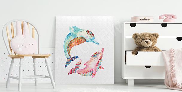 Cuadro delfines coloridos