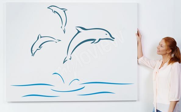 Cuadro delfines en estilo minimalista