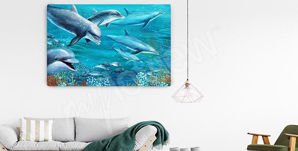 Cuadro delfines en las profundidades del mar