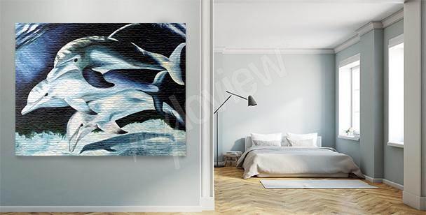 Cuadro delfines por la noche