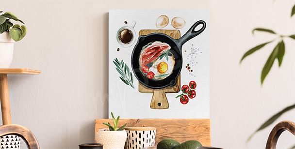 Cuadro desayuno en la sartén