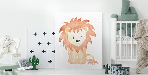 Cuadro dibujo de un cachorro de león