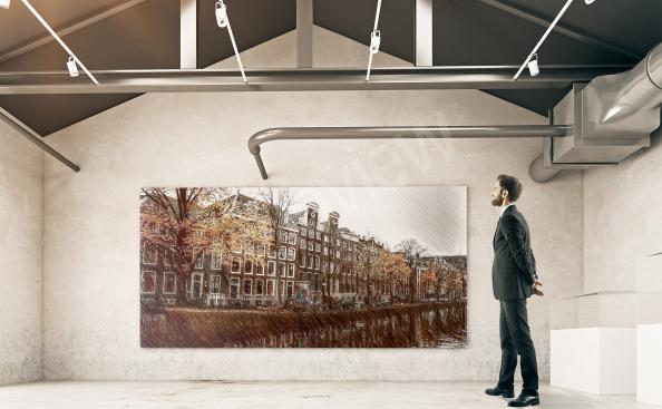 Cuadro edificios históricos de Amsterdam