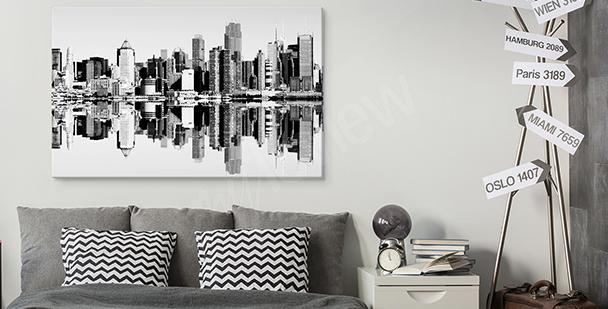 Cuadro en blanco y negro con ciudad