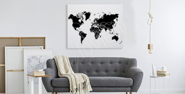 Cuadro en blanco y negro con mapamundi