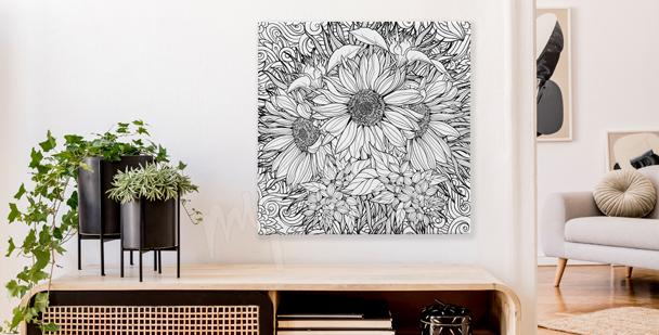 Cuadro en blanco y negro ramo de flores