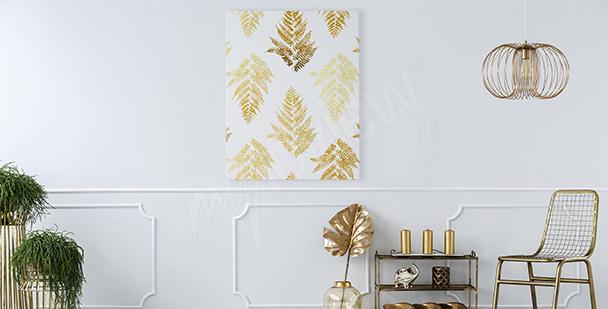 Cuadro estilo glamour hojas doradas