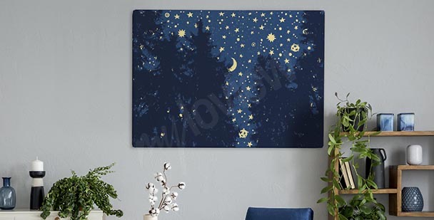Cuadro estrellas sobre un bosque