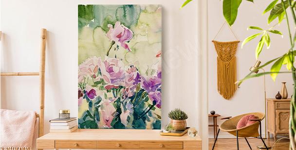 Cuadro floral con acuarela