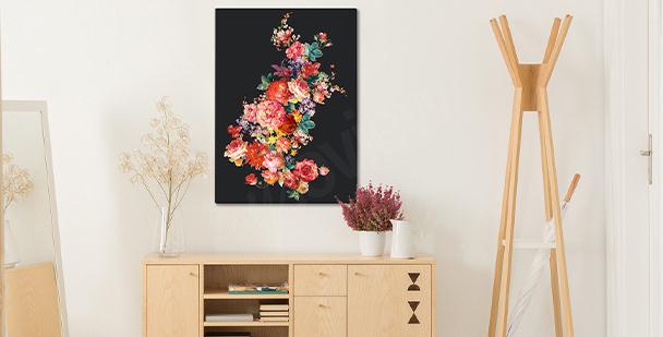 Cuadro floral sobre fondo oscuro