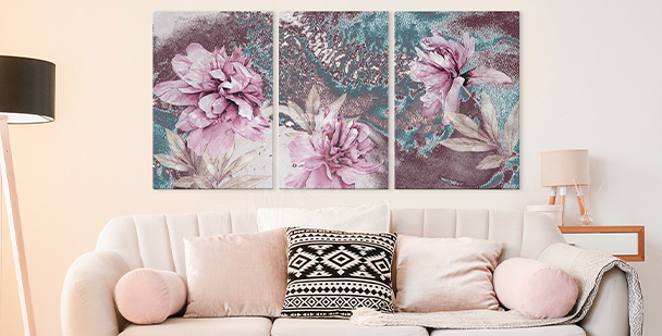 Cuadro floral style - tríptico
