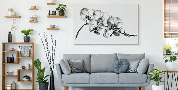 Cuadro flores blanco y negro