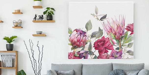 Cuadro flores rosas