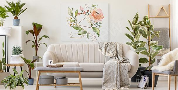 Cuadro flores y geometría
