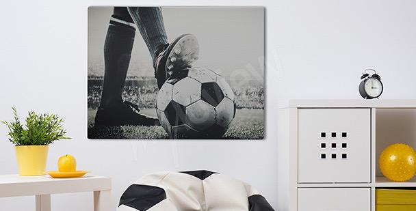 Cuadro futbolista durante un partido