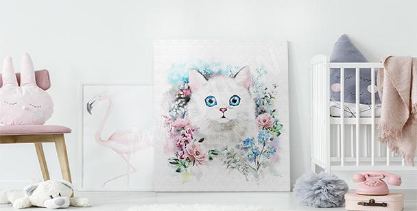 Cuadro gato en rosas