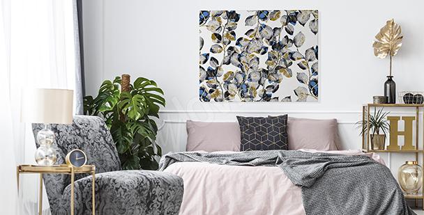 Cuadro hojas de plata para dormitorio