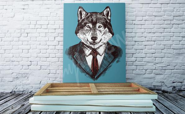 Cuadro ilustración de lobo