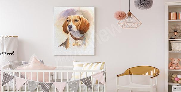 Cuadro infantil con un perro