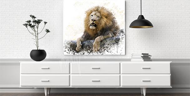 Cuadro león en las rocas