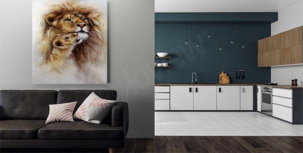 Cuadro león en un entorno natural