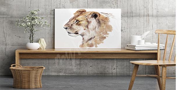 Cuadro leona acuarela