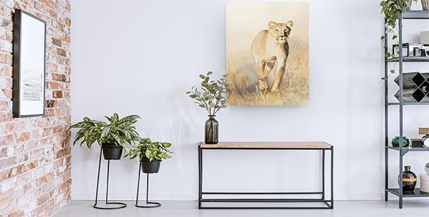 Cuadro leona en la sabana