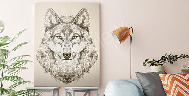 Cuadro lobo en blanco y negro
