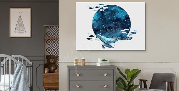 Cuadro luna en estilo galaxia